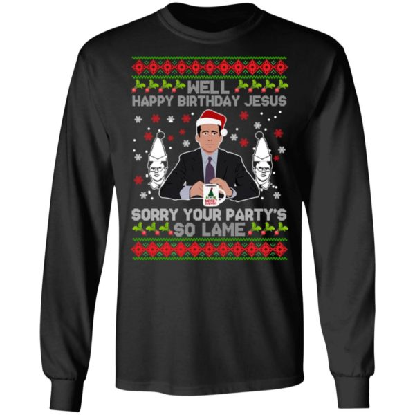 Well happy birthday Jesus sorry your party's so lame Christmas sweater 5