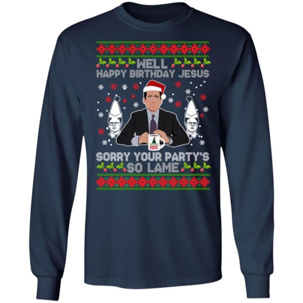Well happy birthday Jesus sorry your party's so lame Christmas sweater 6