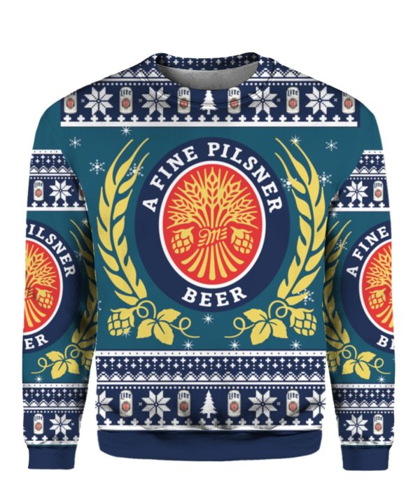 Miller Lite 3D Print Christmas ugly sweater 1
