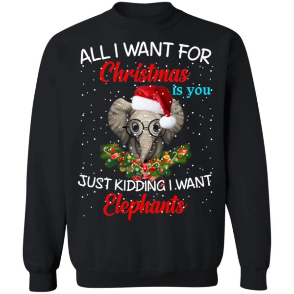 All I want for Christmas is you Just kidding I want Elephants sweater