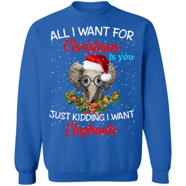 All I want for Christmas is you Just kidding I want Elephants sweater 10
