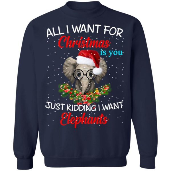 All I want for Christmas is you Just kidding I want Elephants sweater 11