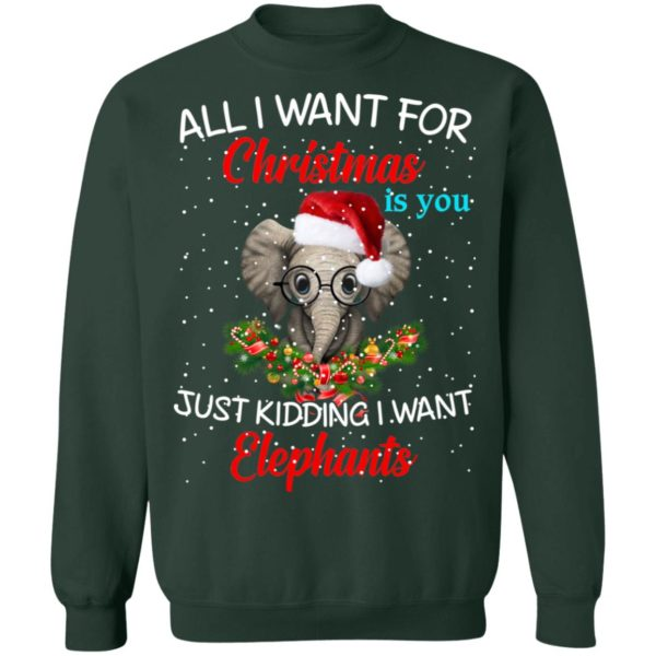 All I want for Christmas is you Just kidding I want Elephants sweater 12