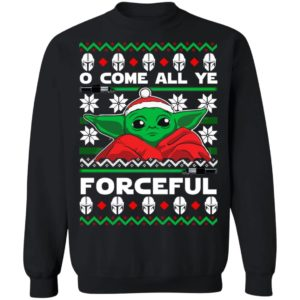 Baby Yoda O come all ye forceful Christmas sweater