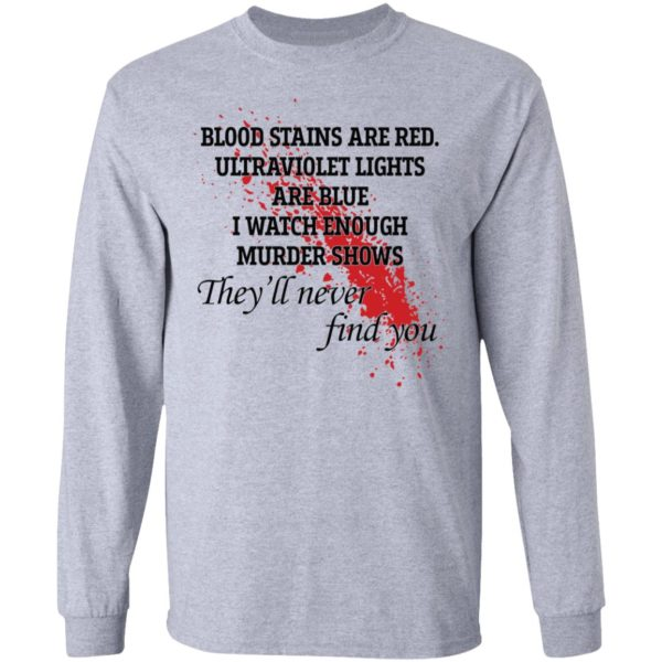 Blood stains are red ultraviolet lights are blue shirt 5