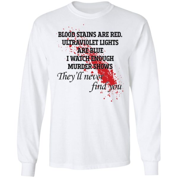 Blood stains are red ultraviolet lights are blue shirt 6