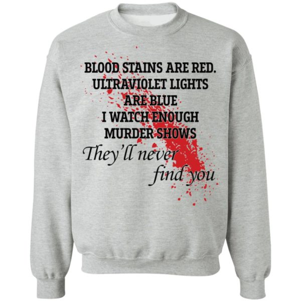 Blood stains are red ultraviolet lights are blue shirt 9