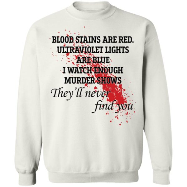 Blood stains are red ultraviolet lights are blue shirt 10