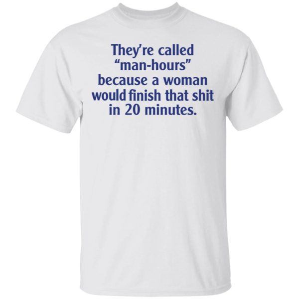 They're called man hours because a woman would finish that shit in 20 minutes shirt