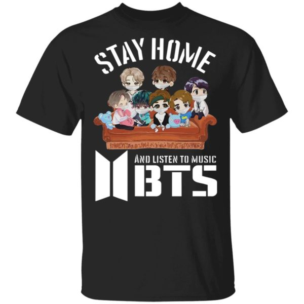 Stay Home And Listen To Music BTS Hearts shirt