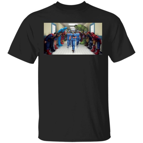 Superheroes Bowing to Doctor Nurse shirt