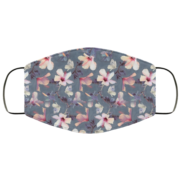 Butterflies and Hibiscus Flowers face mask washable, Reusable