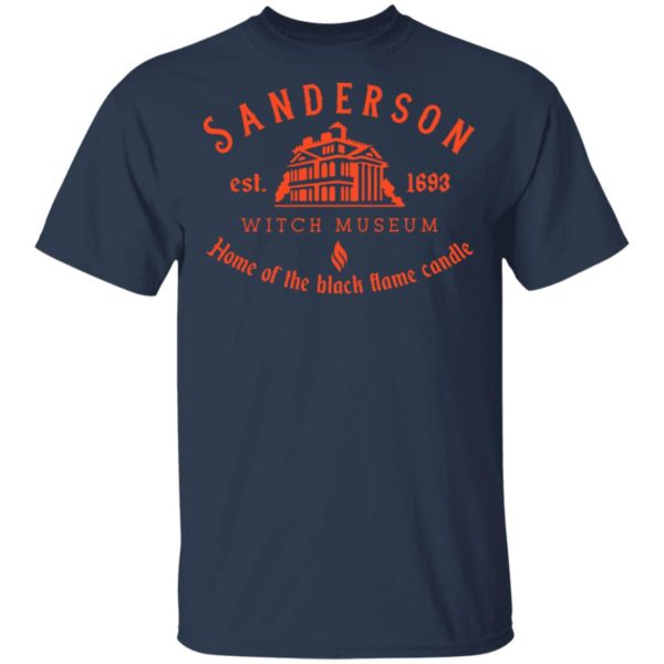Sanderson witch museum home of the black flame candle shirt 2